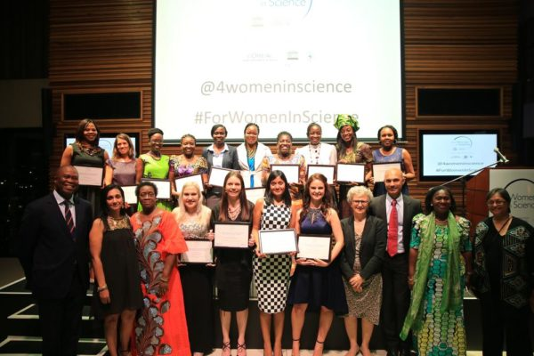 L'Oréal-UNESCO For Women in Science 2016 fellows with (Front row from left) Dr Phil Mjwara, Director General: Department of Science of Technology, Dr Madhvee Madhou, Jury member, Professor Mabel Imbuga, Jury member, Ambassador of France to South Africa, HE Elisabeth Barbier , Sandeep Rai, Managing Director, L'Oreal South Africa, Dr Peggy Oti-Boateng,UNESCO Regional Science Advisor, Coordinator ANSTI, Professor Quarraisha Abdool Karim, 2016 L'Oréal-UNESCO For Women In Science Laureate
