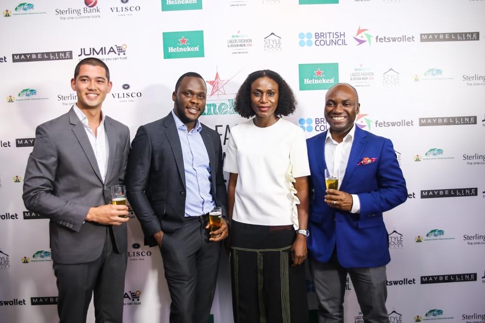 Omoyemi Akerele flanked by the Heineken Team Fai de Swart, Biyi Fagade and Sampson Olochie (Portfolia Manager, International Premium)