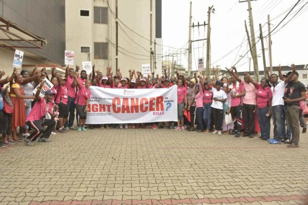 Lagosians at the 2016 Pink October Walk, Race & Cycle against Cancer today at Radio Lagos, Ikeja organized by Project PINK BLUE