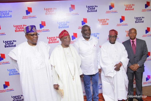 L/R: Chief Kenny Martins, Sir Kessington Adebutu, Olusegun Adebutu, Former President Olusegun Obasanjo and Prof Temitope Alonge