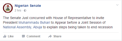 National Assembly Invites Buhari
