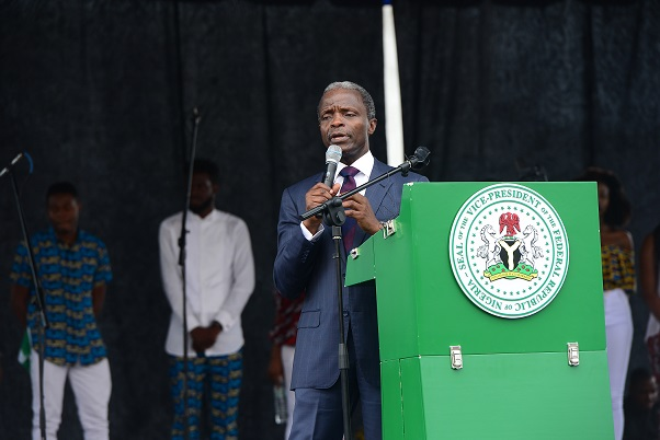 Nigeria's Vice President, Professor Yemi Osinbajo delivers a message of hope at the Freedom Rally
