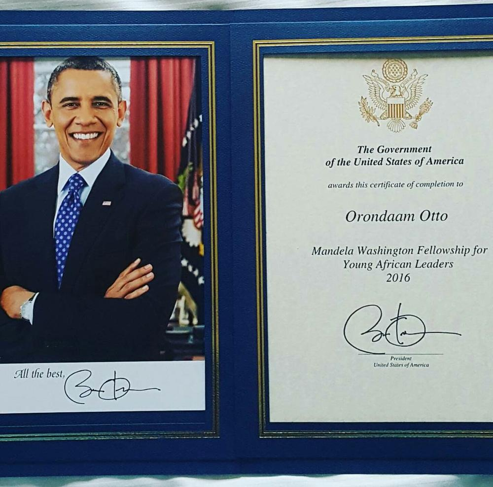 Otto Orondaam Mandela Washington Fellowship, Young African Leaders ( YALI )3