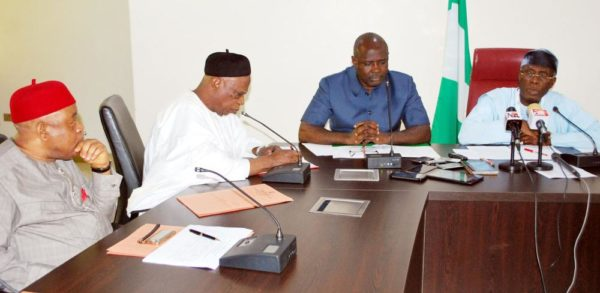 PIC. 41. FROM LEFT: VICE CHAIRMAN, SENATE COMMITTEE ON AGRICULTURE, SEN. THEODORE  ORJI; THE CHAIRMAN OF THE COMMITTEE, SEN. ABDULLAHI ADAMU; MINISTER OF STATE FOR  AGRICULTURE AND RURAL DEVELOPMENT. SEN. HEINEKEN LOKPOBIRI; AND THE MINISTER OF  AGRICULTURE AND RURAL DEVELOPMENT, CHIEF AUDU OGBEH, DURING THE COMMITTEE'S OVERSIGHT  FUNCTION'S VISIT TO THE MINISTRY IN ABUJA ON MONDAY (10/10/16). 7558/10/10/2016/HOGAN-BASSEY/BJO/NAN