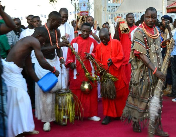 Pic.35. Some traditionalists perform some traditional rites at the coronation of the new Oba of Benin, Omo N'Oba Eheneden Erediauwa in Benin on Thursday (20/10/16). 7865/20/10/2016/Ernest Okorie/BJO/NAN