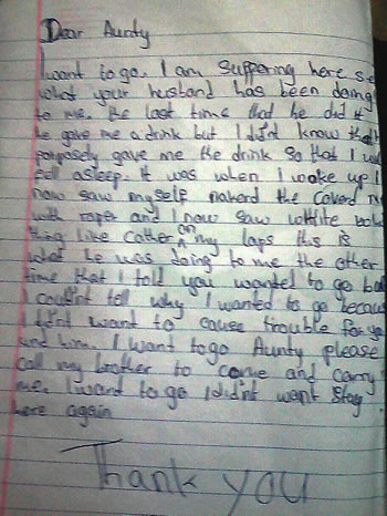 The victim's letter