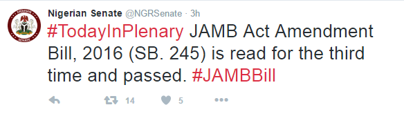 Senate Passes JAMB Bill