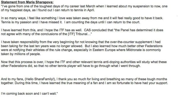 Sharapova's Statement