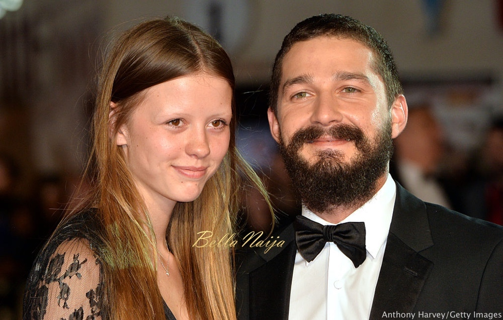 """LONDON, ENGLAND - OCTOBER 19: Mia Goth and Shia LeBeouf attend the closing night European Premiere gala red carpet arrivals for """"Fury"""" during the 58th BFI London Film Festival at Odeon Leicester Square on October 19, 2014 in London, England. (Photo by Anthony Harvey/Getty Images for BFI)"""