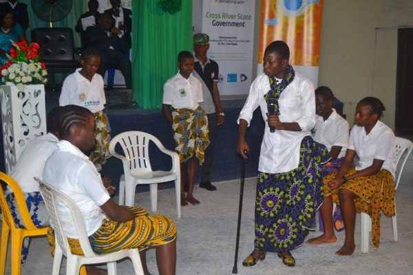 Students of Federal Government Girls College-Calabar staging a playlet against malaria