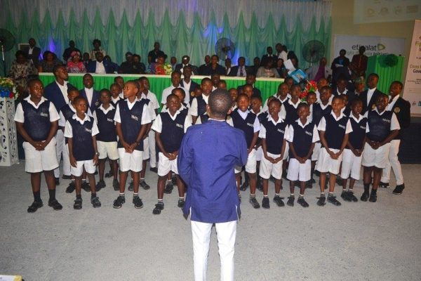 Students of Hope Waddel Training Institute-Calabar performing a campaign against malaria song