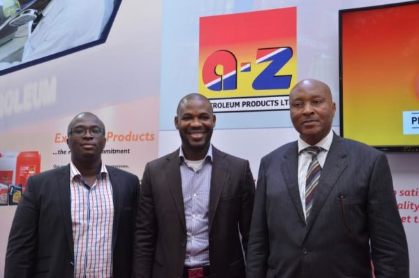 Umunna Chukwuma, Quality Assurance Manager A-Z Petroleum, Dikanna Okafor, Executive Director Corporate Services A-Z Petroleum & Ameachi A. Chukwu, Head Marketing Research& Development, A-Z Petroleum at the 10th Oil Trading and Logistics Expo in Lagos recently. Photo: A-Z Petroleum products Limited