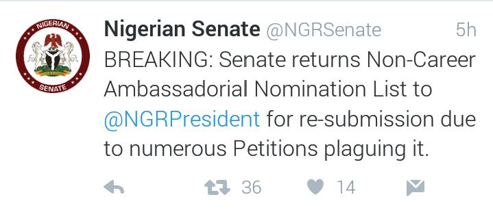 Senate rejects non-career ambassadors' list