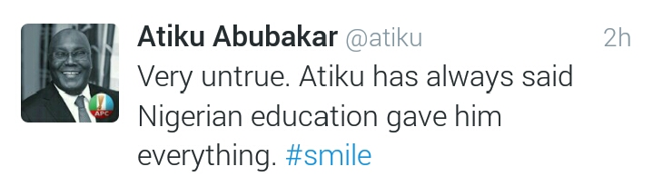 Atiku tweets on Nigerian Education