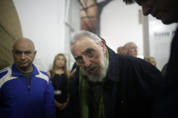 HAVANA, CUBA - JANUARY 08: Fidel Castro, Cuba's former President and revolutionary leader, looks at the camera during a rare public appearance to attend the inauguration of an art gallery on January 8, 2014 in Havana, Cuba. Castro, who ceded power to his brother Raul Castro in 2008 after falling ill in 2006, has last been seen in public in February 2013 at a National Assembly meeting. The gallery Castro visited is run by Cuban artist Alexis Leyva, aka Kcho.