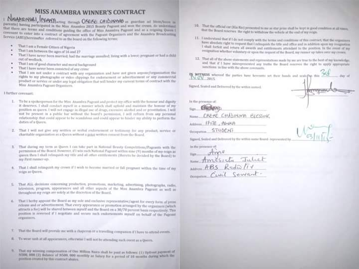 Photo of the signed Contract
