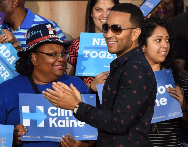 LAS VEGAS, NV - OCTOBER 04:  Singer/songwriter John Legend greets supporters after his wife, model and television personality Chrissy Teigen (not pictured), spoke at a campaign event with U.S. Sen. Elizabeth Warren (D-MA) at The Springs Preserve on October 4, 2016 in Las Vegas, Nevada. Warren and Teigen are campaigning for Democratic presidential nominee Hillary Clinton and former Nevada Attorney General and U.S. Senate candidate Catherine Cortez Masto.  (Photo by Ethan Miller/Getty Images)