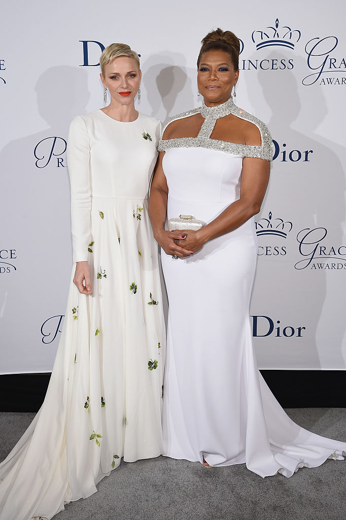 NEW YORK, NY - OCTOBER 24: Her Serene Highness Princess Charlene of Monaco (L) and Queen Latifah attend the 2016 Princess Grace Awards Gala with presenting sponsor Christian Dior Couture at Cipriani 25 Broadway on October 24, 2016 in New York City. (Photo by Dimitrios Kambouris/Getty Images for Princess Grace Foundation)