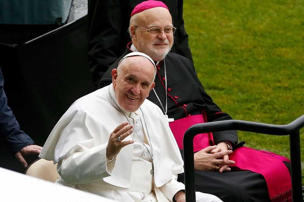 MALMO, SWEDEN - NOVEMBER 01:  Pope Francis and Sweden's Catholic bishop Anders Arborelius arrive for the Holy Mass at the Swedbank Stadion on November 1, 2016 in Malmo, Sweden. The Pope is on 2 days visit attending Catholic-Lutheran Commemoration in Lund and Malmo.  (Photo by Michael Campanella/Getty Images)