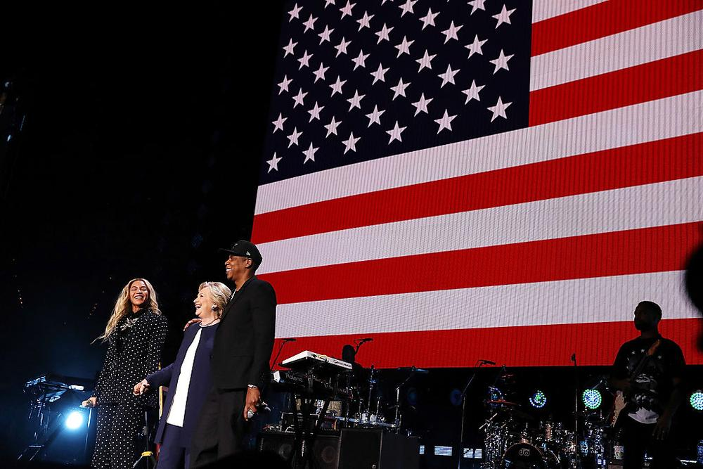 CLEVELAND, OH - NOVEMBER 04: Recording artist Jay Z is seen on a screen as he performs during a Get Out The Vote concert Democratic presidential nominee former Secretary of State Hillary Clinton at Wolstein Center on November 4, 2016 in Cleveland, Ohio. With less than a week to go until election day, Hillary Clinton is campaigning in Pennsylvania, Ohio and Michigan. (Photo by Justin Sullivan/Getty Images)