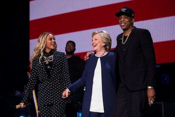 CLEVELAND, OH - NOVEMBER 04: Beyonce and Jay Z perform at a concert for Democratic Presidential candidate Hillary Clinton,  November 4, 2016 in Cleveland, OH  (Photo by Brooks Kraft/ Getty Images)