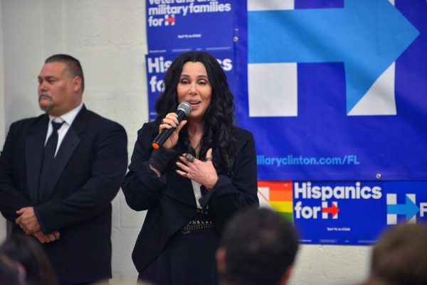 MIAMI, FL - NOVEMBER 07:  Cher campaigns for Hillary Clinton on November 7, 2016 in Miami, Florida.  (Photo by Johnny Louis/FilmMagic)