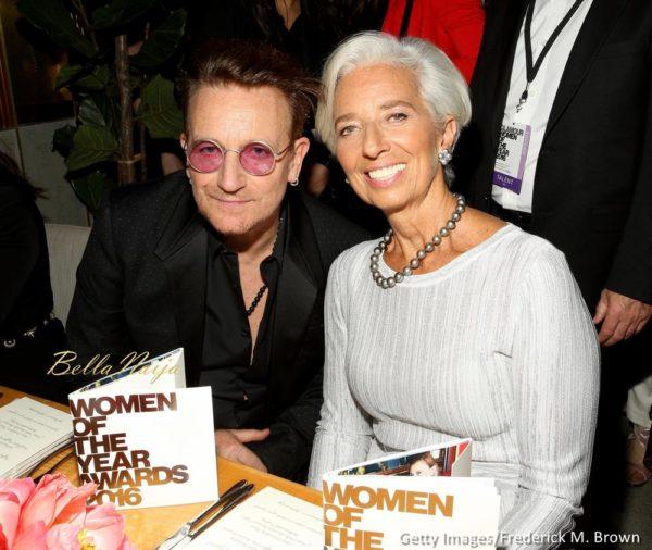 Singer Bono (L) and politician Christine Lagarde