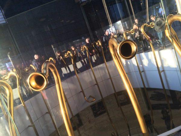The Piazza Gae Aulenti Trumpets