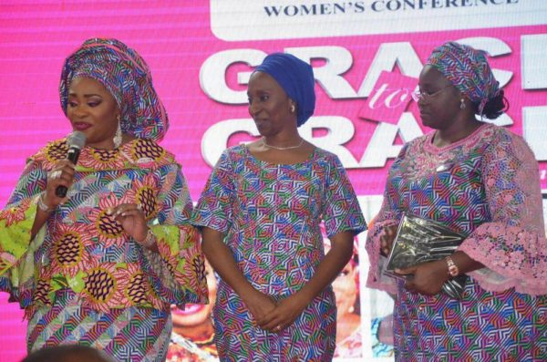 L-R Pastor Siju Iluyomade Convener Arise Women Conference, H.E Dolapo Osinbajo Wife of the Vice president of Federal Republic of Nigeria, H. E Omolewa Ahmed First Lady of Kwara State