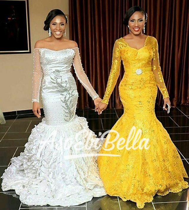 Lovely Bride & her Maid of Honour & Twin Dresses by @Ndfashionng