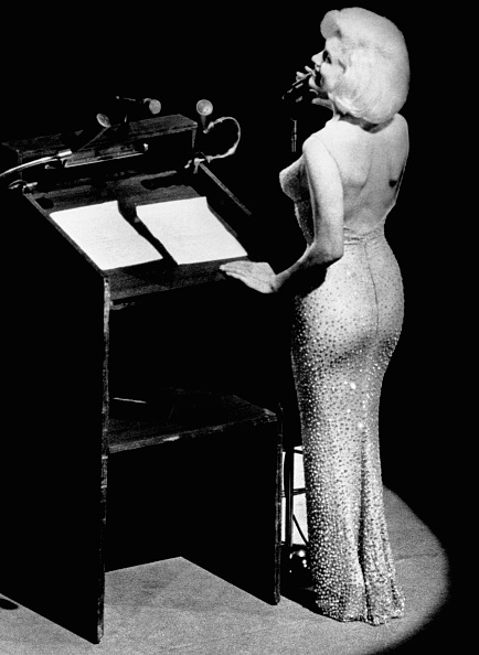 "Actress Marilyn Monroe sings ""Happy Birthday"" to President John F. Kennedy at Madison Square Garden, for his upcoming 45th birthday."