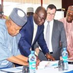 From left: Chairman, Northern States Governors'' Forum, Governor Kashim Shettima of Borno State; President/Chief Executive Officer, General Electric, Nigeria, Dr Lazarus Angbazo; General Electric''s Senior Executive, Western Europe & Africa, Mr Armand Pineda; and the CEO, Northern Nigeria Global Economic Re-integration Programme, Tanimu Yakubu Kurfi at the signing of an MOU between General Electric and the northern governors for the construction of five solar power plants Photo: Dailytrust