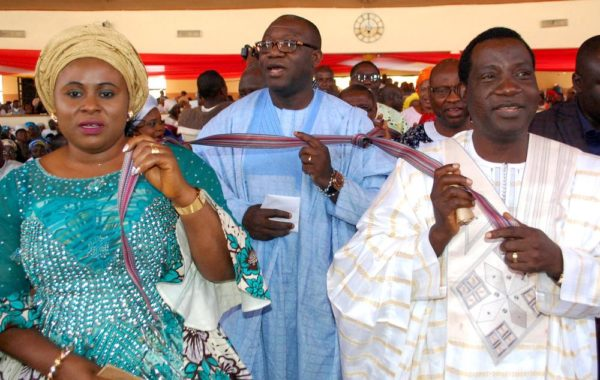 Pic 7. From Left:  Wife of Plateau State Governor, Regina Lalong; Minister of Solid Minerals, Kayode Fayemi and Gov. Simon Lalong of  Plateau,  during the Saint Monica's Catholic Church harvest and thanksgiving service in Jos on Sunday(13/11/2016).  8318/13/11/2016/ Sunday Adah /TA/NAN