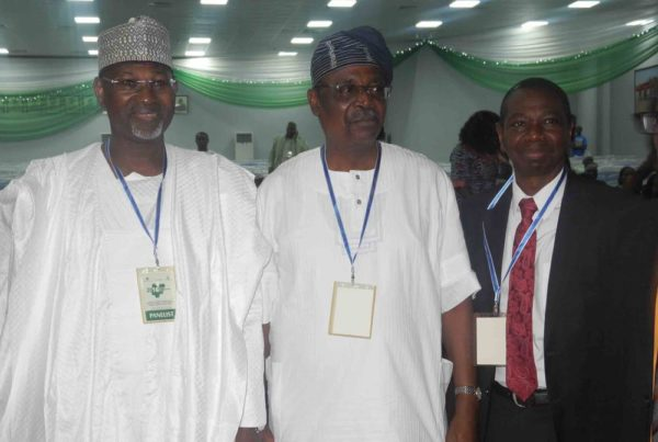 Pic.10. From left: Former chairman of Independent National Electoral Commission (INEC), Prof. Attahiru Jega; former Vice Chancellor of  the University of Ibadan, Prof. Bamiro Olufemi; and former Head of the Civil Service of the Federation, Prof. Dapo Afolabi, at the Nigeria Higher Education Summit in Abuja on Monday (21/11/16). 8499/21/11/2016/ Deborah Bada/BJO/NAN