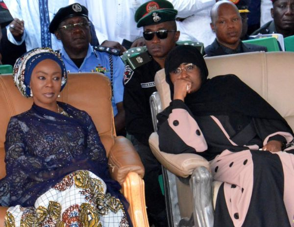 PIC.26. Wife of the President, Aisha Buhari and wife of the Senate President, Mrs Toyin Saraki, at burial of the Lt. Col. Mohammed Abu-ALI and five solders and seaman in Abuja on Monday (7/11/16). 8258/11/7/2016/Johnson Udeani/NAN