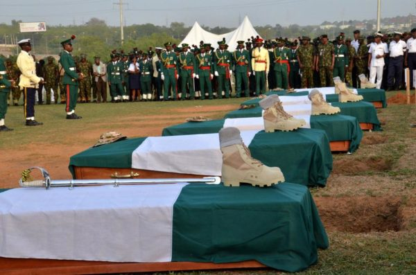 Pic.. Remains Lt. Col. Mohammed Abu-ALI, five solders and a seaman, during their burial in Abuja on Monday (7/11/16). /11/7/2016/Johnson Udeani/NAN