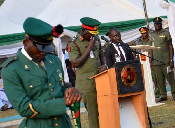 PIC.31. . Chief of Army Staff, Lt.Gen. Tukur Buratai, Delivering oratory, during the burial of the Lt. Col. Mohammed Abu-ALI and five solders and a seaman in Abuja on Monday (7/11/16). 82628261/11/7/2016/Johnson Udeani/NAN