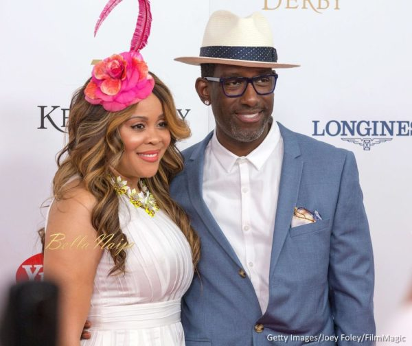 Sharonda Jones (L) and singer Shawn Stockman of Boys II Men attends the 142nd Kentucky Derby at Churchill Downs on May 07, 2016 in Louisville, Kentucky.