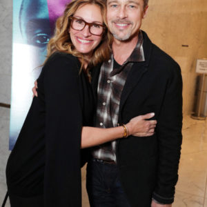 """EXCLUSIVE - Julia Roberts and Exec. Producer Brad Pitt seen at A24's """"MOONLIGHT"""" Screening hosted by Brad Pitt and Julia Roberts on Monday, November 08, 2016, in Los Angeles, CA. (Photo by Eric Charbonneau/Invision for A24/AP Images)"""