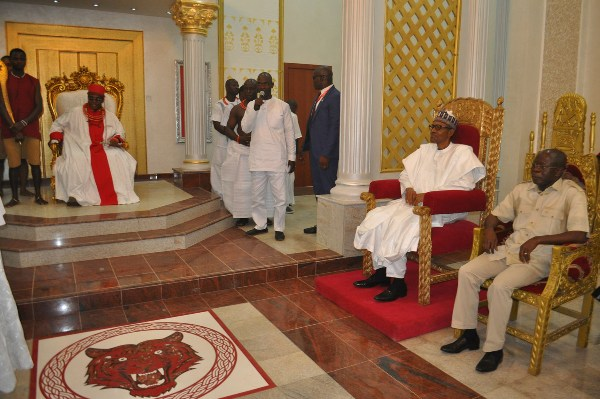 President Buhari at the Oba of Benin's palace on Monday.