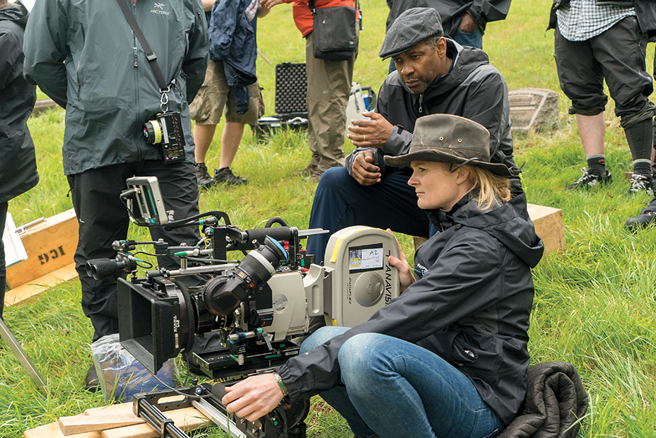 Director of Photography Charlotte Bruus Christensen and Director Denzel Washington on the set of Fences from Paramount Pictures. Directed by Denzel Washington from a screenplay by August Wilson.