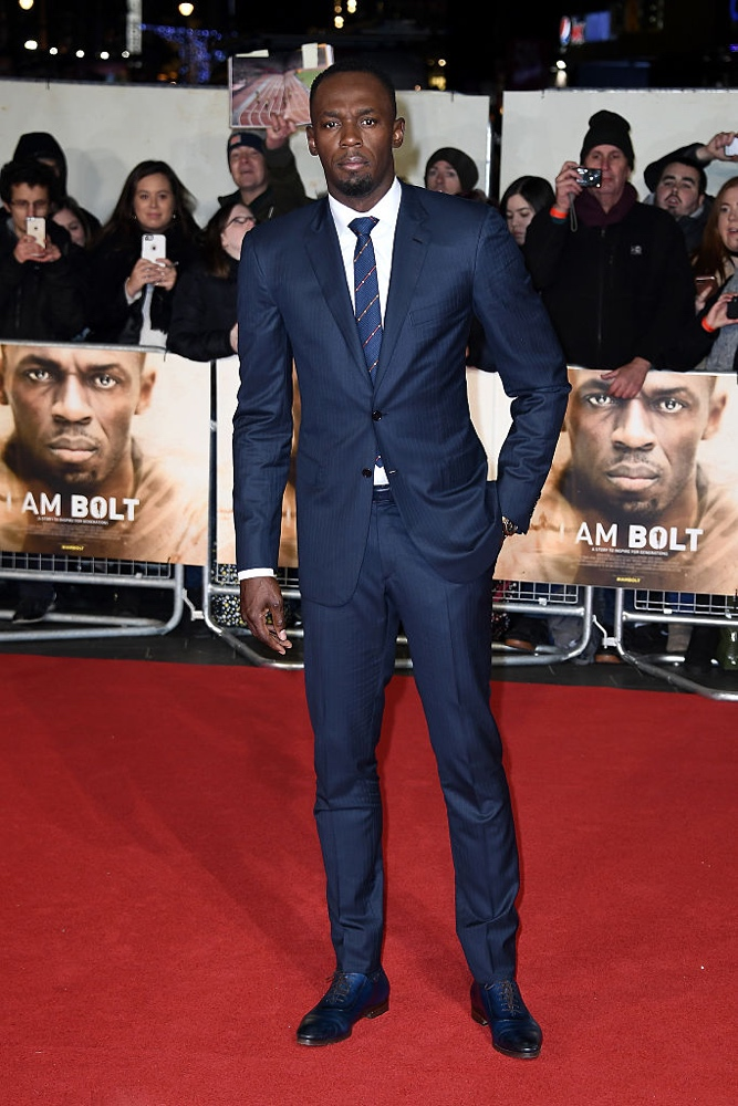 "LONDON, ENGLAND - NOVEMBER 28:  Usain Bolt attends the World Premiere of ""I Am Bolt"" at Odeon Leicester Square on November 28, 2016 in London, England.  (Photo by Gareth Cattermole/Getty Images)"