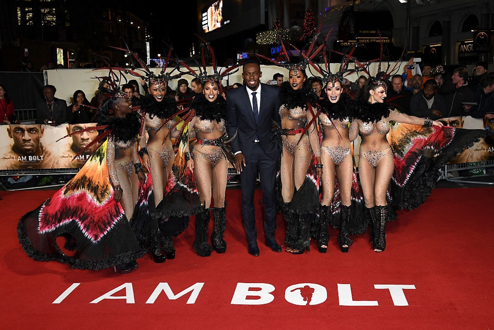 "LONDON, ENGLAND - NOVEMBER 28:  Usain Bolt (C) attends the World Premiere of ""I Am Bolt"" at Odeon Leicester Square on November 28, 2016 in London, England.  (Photo by Gareth Cattermole/Getty Images)"