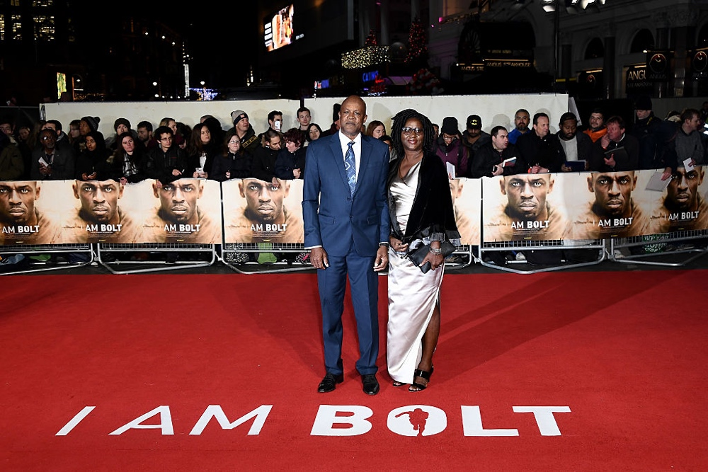 "LONDON, ENGLAND - NOVEMBER 28:  Usain Bolt's parents Jennifer and Wellesley Bolt attend the World Premiere of ""I Am Bolt"" at Odeon Leicester Square on November 28, 2016 in London, England.  (Photo by Gareth Cattermole/Getty Images)"