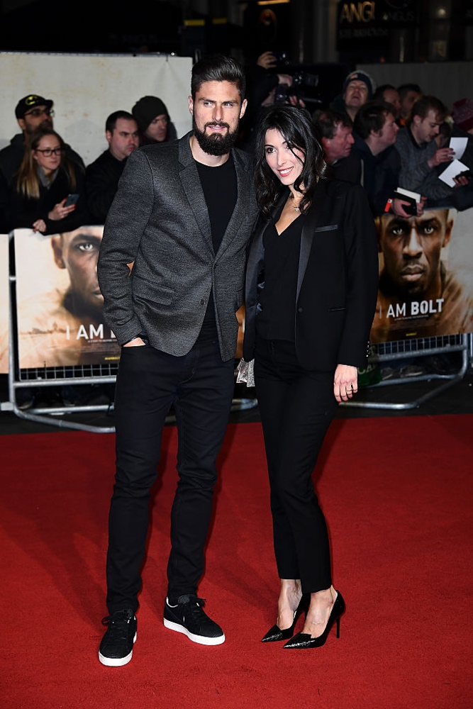 "LONDON, ENGLAND - NOVEMBER 28: Footballer Olivier Giroud and wife Jennifer Giroud attend the World Premiere of ""I Am Bolt"" at Odeon Leicester Square on November 28, 2016 in London, England.  (Photo by Gareth Cattermole/Getty Images)"