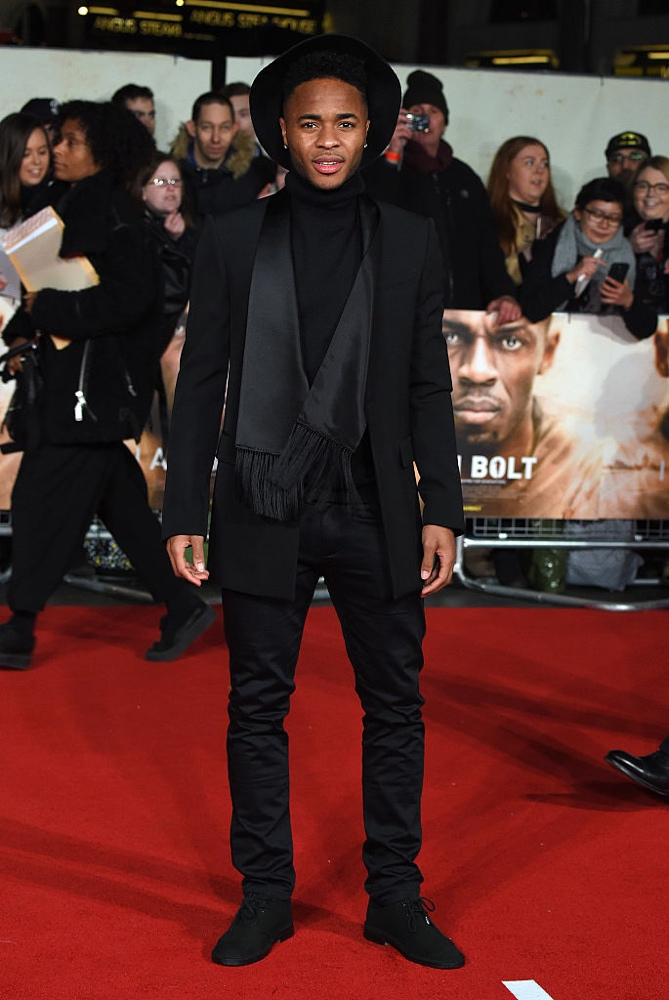 "LONDON, ENGLAND - NOVEMBER 28:  Raheem Sterling attends the World Premiere of ""I Am Bolt"" at Odeon Leicester Square on November 28, 2016 in London, England.  (Photo by Anthony Harvey/Getty Images)"