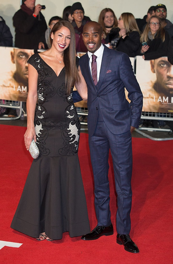 "LONDON, ENGLAND - NOVEMBER 28:  Tania Nell and Mo Farah attend the World Premiere of ""I Am Bolt"" at Odeon Leicester Square on November 28, 2016 in London, England.  (Photo by Dave J Hogan/Getty Images)"