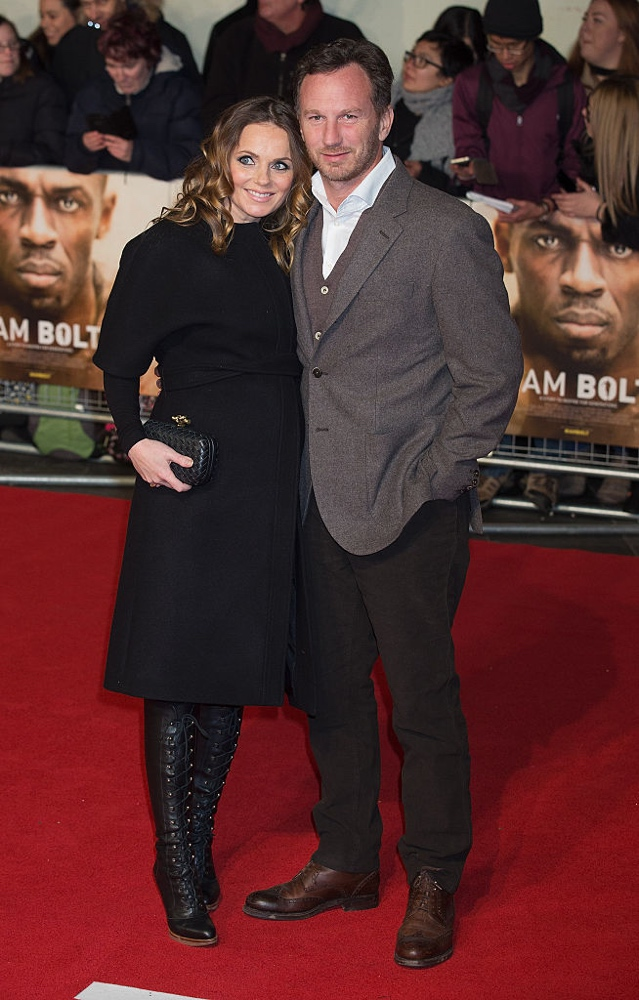 "LONDON, ENGLAND - NOVEMBER 28:  Geri Horner and Christian Horner attend the World Premiere of ""I Am Bolt"" at Odeon Leicester Square on November 28, 2016 in London, England.  (Photo by Dave J Hogan/Getty Images)"