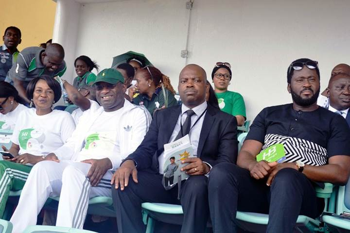 L-R: Heritage Bank-Lagos State Skoolimpics Ambassador, Mary Onyali; Managing Director/CEO, Ifie Sekibo; Director-General, Lagos State Sports Commission, Dewunmi Ogunsanya and Honourable Desmond Elliot, during the opening ceremony of Skoolimpics at the Teslim Balogun Stadium, in Lagos