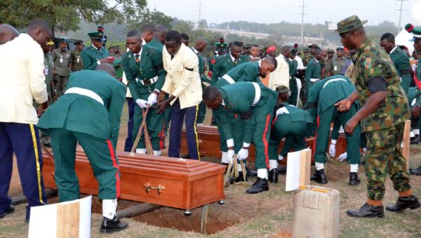PIC.29. BURIAL OF OFFICER AND SOLDERS THAT LOST THEIR LIVES ON THE NORTH-EASTH IN ABUJA Pic.29. Remains Lt. Col. Mohammed Abu-ALI, five solders and a seaman, during their burial in Abuja on Monday (7/11/16). 8261/11/7/2016/Johnson Udeani/NAN
